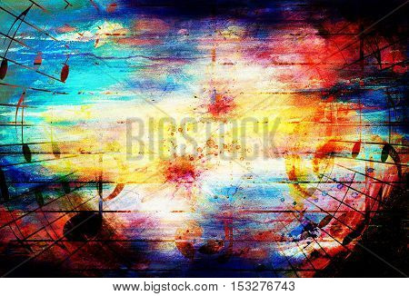 beautiful colorful collage with music motif on abstract background