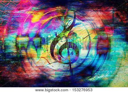 beautiful abstract colorful collage with music notes and the violin clef in space