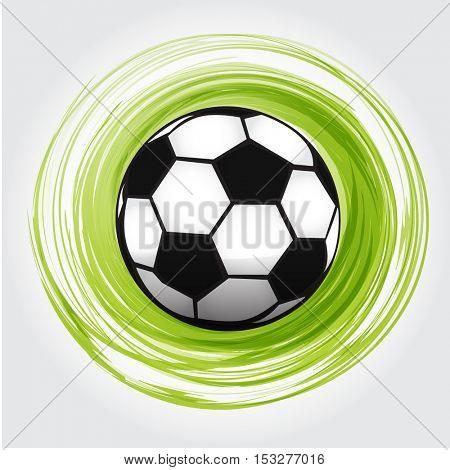 Football ball icon. Soccer ball symbol. Foot ball in green circle. Vector sport illustration.