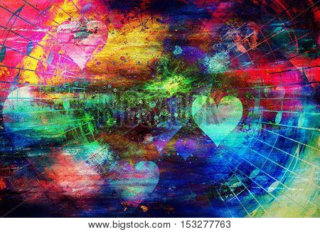 beautiful collage with hearts and music notes, symbolizing the love to music