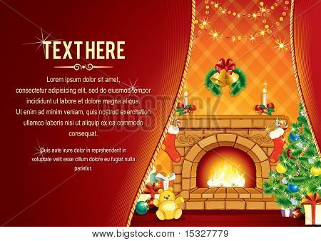 Vector Background with decorated Home room, Christmas tree, Festive Fireplace and Santa's gifts - card ready for your text