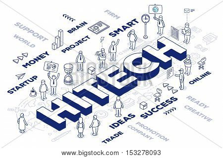 Vector Illustration Of Three Dimensional Word Hitech With People And Tags On White Background With S