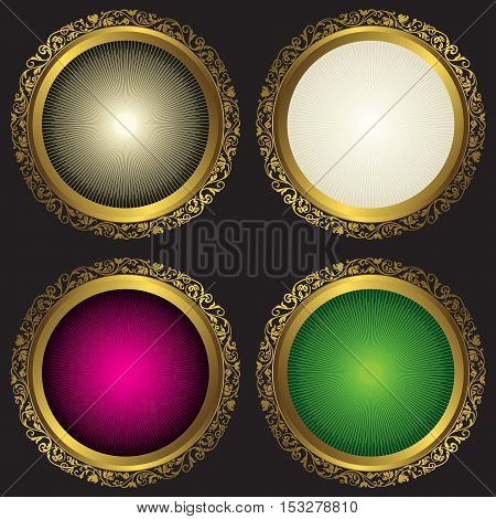 Collection vintage round frames with rays over black vector eps10