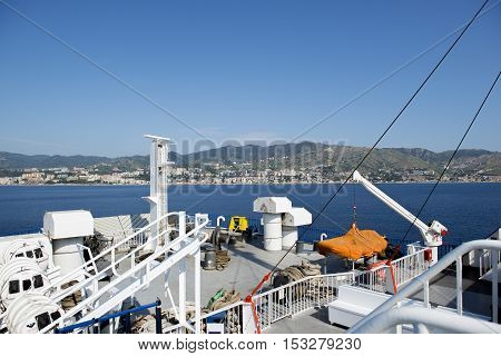 Deck Of A Ferry Approaching To Sicily