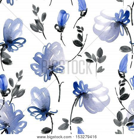 Watercolor and ink illustration of blue flowers and leaves. Seamless pattern.