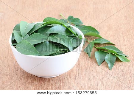 Healthy food curry leaves, which are used in tempering some Indian food, in a bowl.