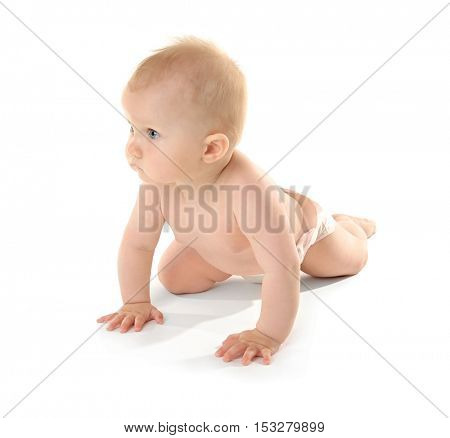 Adorable little baby on white background