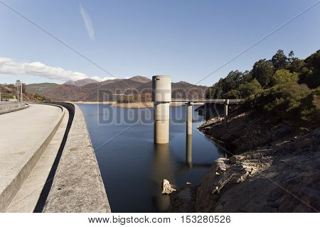 View of the Alto Lindoso Dam and lake on the Lima River Portugal