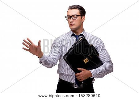 Young businessman in business concept isolated on white