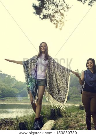 Girls Friends Exploring Outdoors Nature Concept