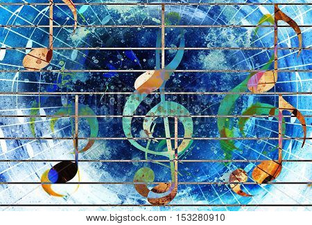 abstract set of music clefs and lines with notes, music theme graphic collage