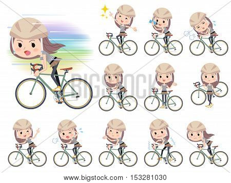 Set of various poses of Long hair border T shirt woman ride on bicycle