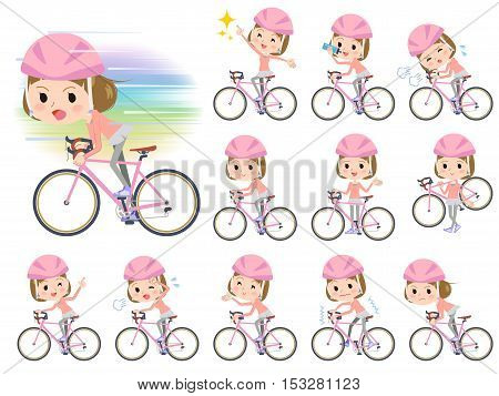 Set of various poses of Straight bangs hair pink wear women ride on bicycle