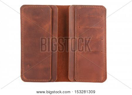 Brown leather opened purse isolated on white