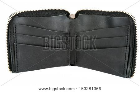 Black leather opened purse isolated on white