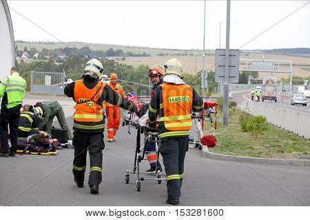 CZECH REPUBLIC, PLZEN, 30 SEPTEMBER,2015:Czech rescue team, helicopter evacuate injured after a car accident on September 30. 2015.