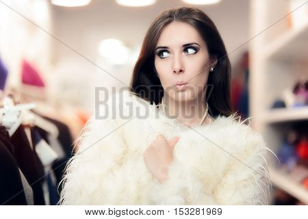 Curious Woman Wearing White Fur Coat in Fashion Store