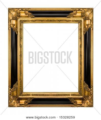 Vintage gold and piano black ornate frame