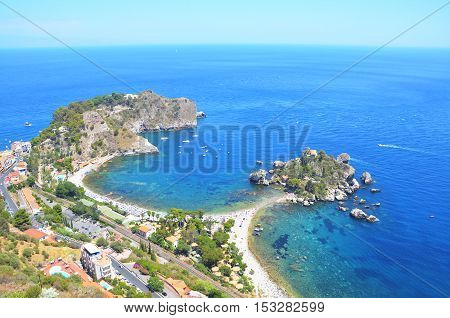 Panoramic view of Isola Bella island and beach. Taormina Sicily Italy