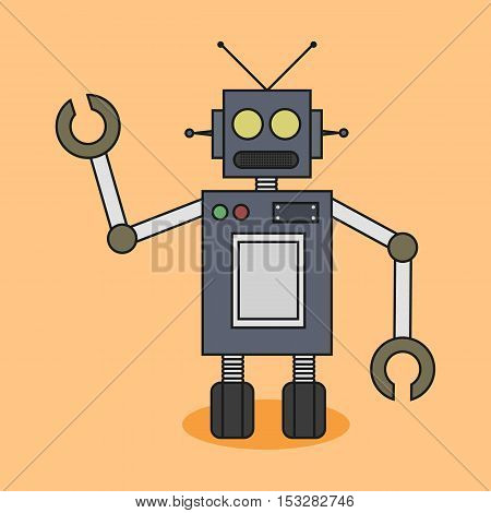 Funny Robot Illustration Flat Design. Isolated. Simple.