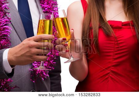 Office christmas celebration with glasses of champagne