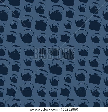 Seamless Blue Pattern with Kettle. Vector background with different teapots. Endless kitchen texture.