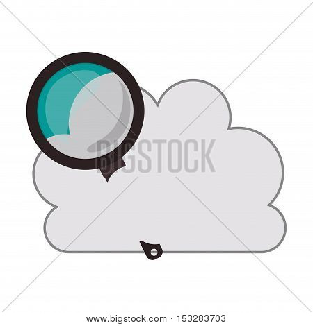 white cloud shape with magnifying glass icon. isolated design. vector illustration