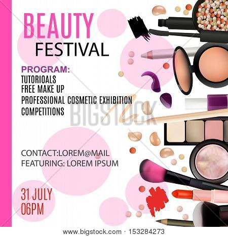 Beauty Festival Poster Design. Cosmetic Products Professional Make Up Care. Printable Template for Business Banner Poster Voucher Booklet.