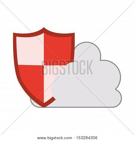 white cloud shape with security shield icon. isolated design. vector illustration