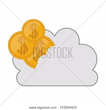 white cloud shape with gold money coins icon. isolated design. vector illustration