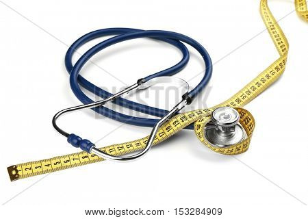 Stethoscope with measuring tape on white background