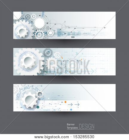 Vector abstract gear wheel and circuit board banners set. High tech technology and engineering background. Machine technology futuristic concept. Vector technology for web banner template or brochure