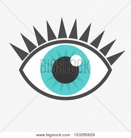 Blue eye icon. Graphic design simple illustration