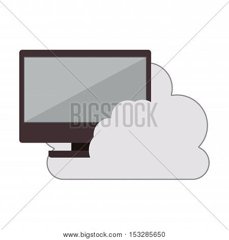 white cloud shape with monitor computer icon. isolated design. vector illustration
