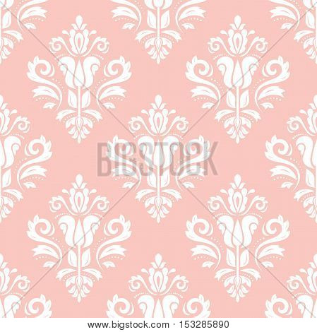 Damask vector classic pink and white pattern. Seamless abstract background with repeating elements