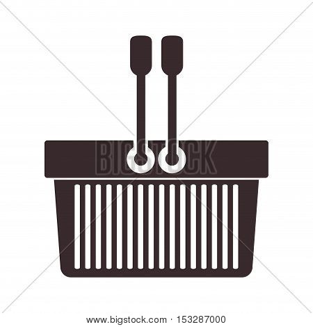 shopping basket icon over white background. vector illustration