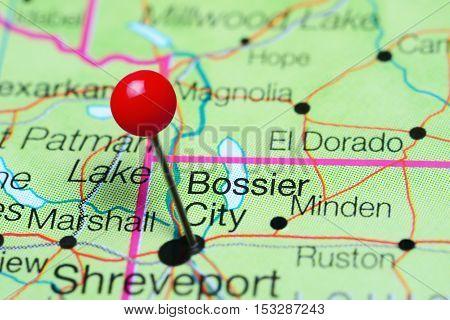 Bossier City pinned on a map of Louisiana, USA