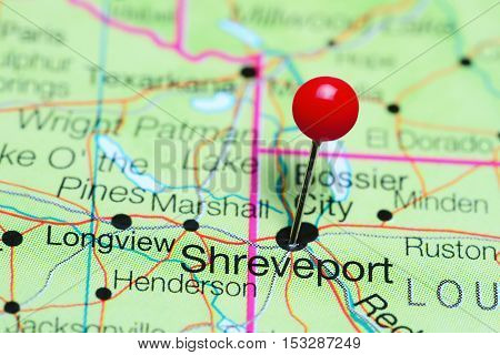 Shreveport pinned on a map of Louisiana, USA