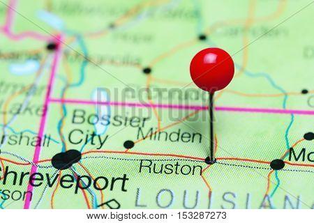 Ruston pinned on a map of Louisiana, USA