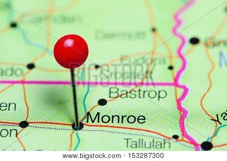 Monroe pinned on a map of Louisiana, USA