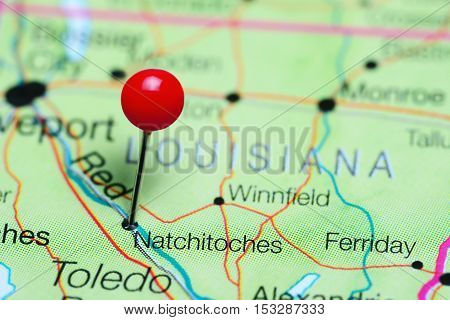 Natchitoches pinned on a map of Louisiana, USA