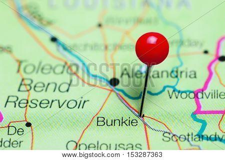 Bunkie pinned on a map of Louisiana, USA