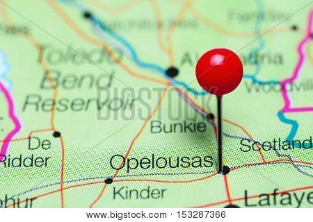 Opelousas pinned on a map of Louisiana, USA