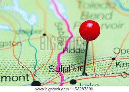 Sulphur pinned on a map of Louisiana, USA
