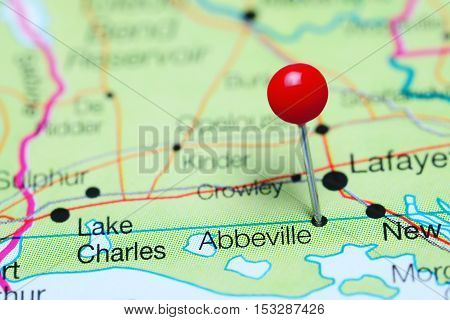 Abbeville pinned on a map of Louisiana, USA
