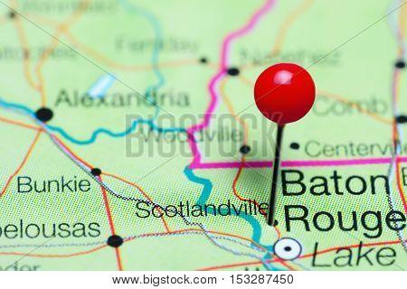Scotlandville pinned on a map of Louisiana, USA