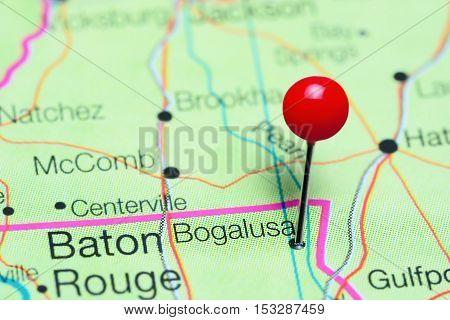 Bogalusa pinned on a map of Louisiana, USA