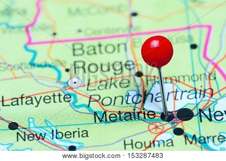 Metairie pinned on a map of Louisiana, USA