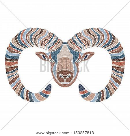 Bright patterned Ram, zodiac Aries sign for astrological predestination and horoscope