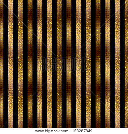 The parallel Vertical lines on the black background. Background made of Gold sequins. Mosaic sequins glitter sparkle stars. Parallel.